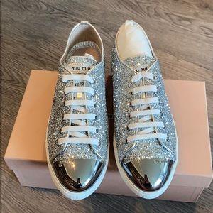 NWT Miu Miu glitter sneakers